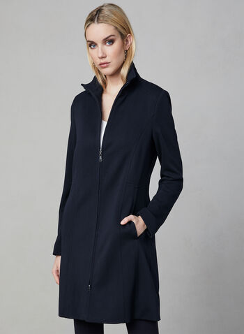 Nuage - Zipper Front Coat, Blue, hi-res,  coat, long sleeves, zipper, textured, standing collar, spring 2019