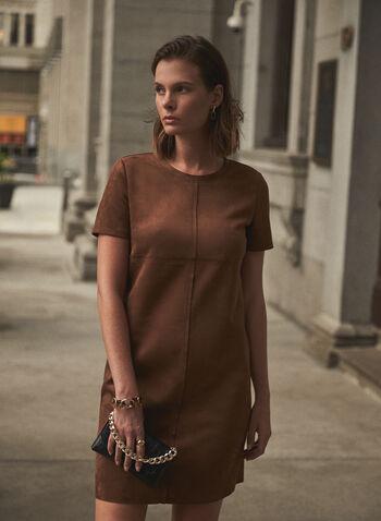 Joseph Ribkoff - Faux Suede Dress, Brown,  Joseph Ribkoff, Frank Lyman, made in Canada, dress, faux suede, short sleeves, fall winter 2021