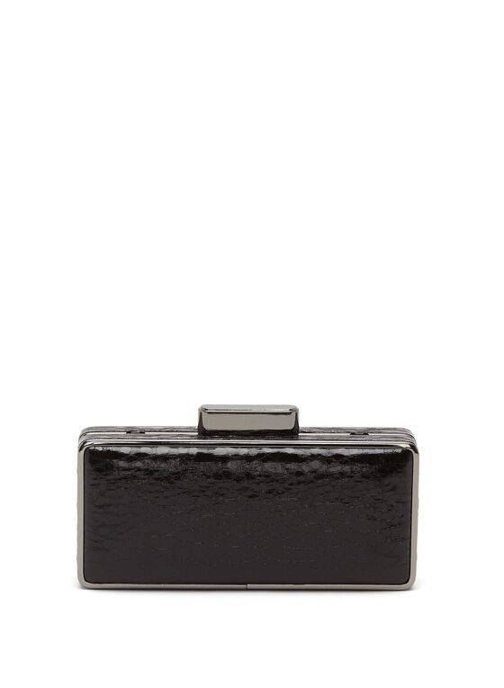 Crackled Metallic Box Clutch, Black, hi-res