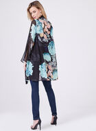 Cardigan kimono en mousseline fleurie, Bleu, hi-res