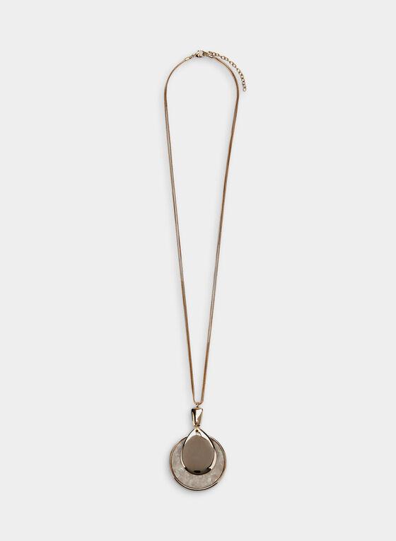 Collier à pendentif pierre et médaillon, Blanc
