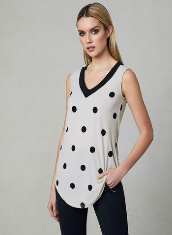 Polka Dot Print Sleeveless Top, White, hi-res