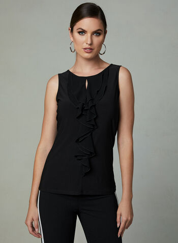 Ruffle Detail Jersey Top, Black, hi-res