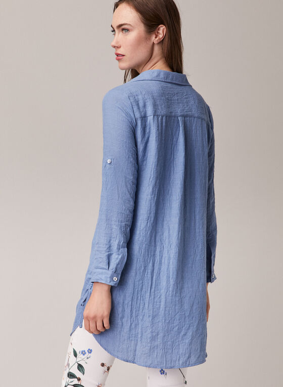 Alison Sheri - Denim-Like Tencel Blouse, Blue