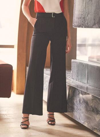Pantalon ceinturé à jambe large, Noir,  printemps été 2021, pantalon, jambe large, palazzo, taille haute, ceinture, ganses, poches