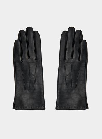 Detailed Sheep Leather Gloves, Black,  gloves, leather gloves, sheep leather, genuine leather, fall 2019, winter 2019