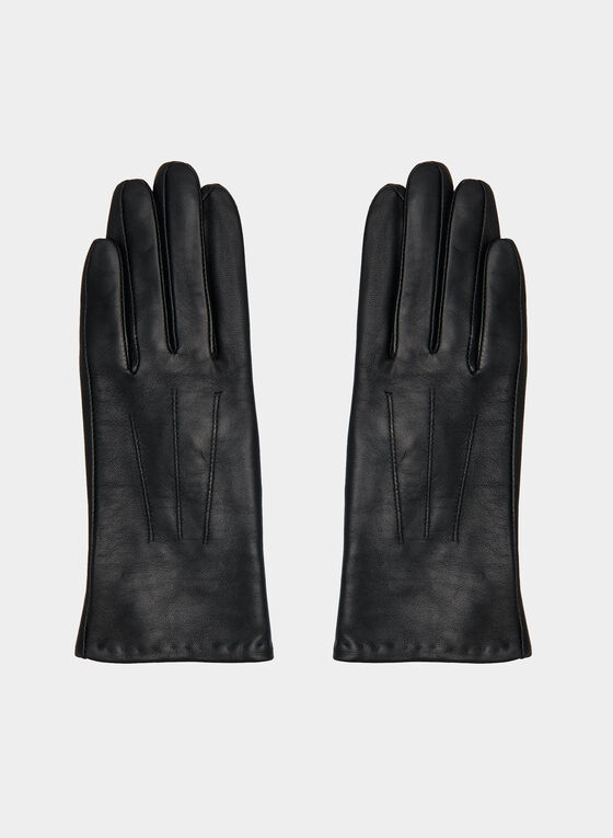 Detailed Sheep Leather Gloves, Black