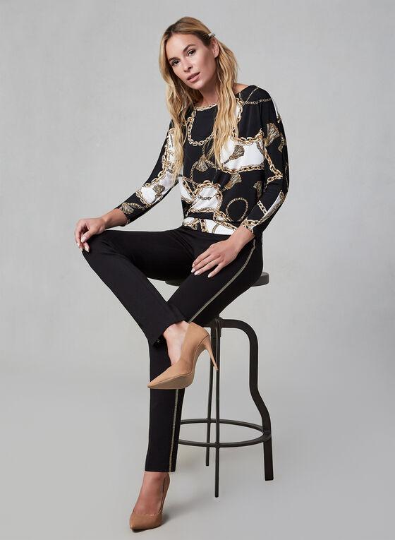 Chain Print Dolman Sleeve Top, Black
