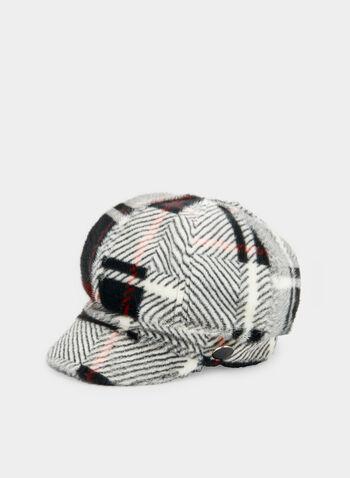 Casquette gavroche en fausse fourrure, Noir, hi-res,  chapeau, casquette gavroche, tartan, fausse fourrure, bouton, automne hiver 2019