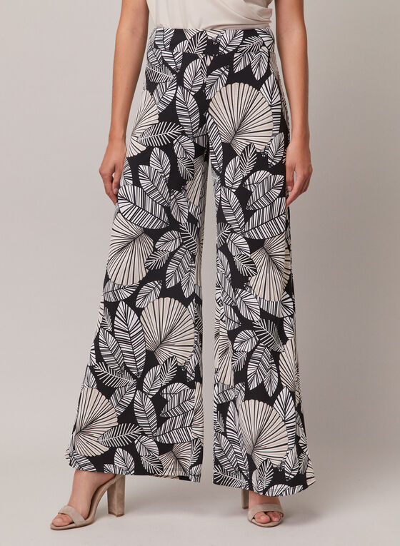 Joseph Ribkoff - Leaf Print Wide Leg Pants, Black