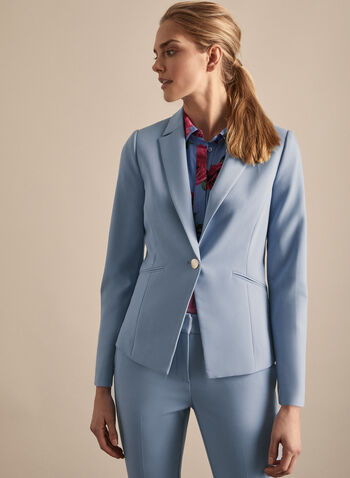 One Button Blazer, Blue,  long sleeves, blazer, suit, collar, jacket, spring 2020, summer 2020