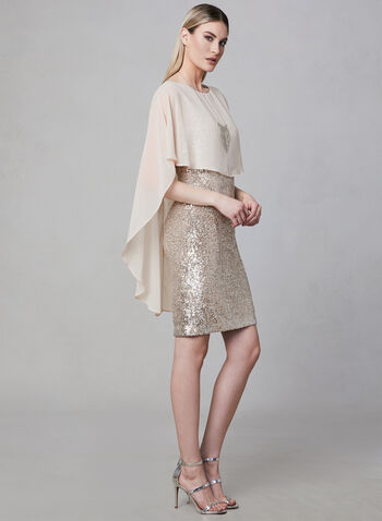Frank Lyman - Sequin & Chiffon Dress, Brown, hi-res