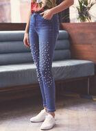 Pearl Embellished Slim Leg Jeans, Blue