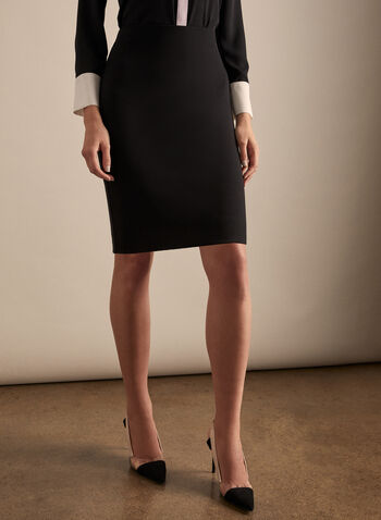 Short Pencil Skirt, Black,  spring summer 2020, short, ponte de roma, pull-on, made in canada