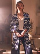 Chain Print 3/4 Sleeve Jacket, Blue