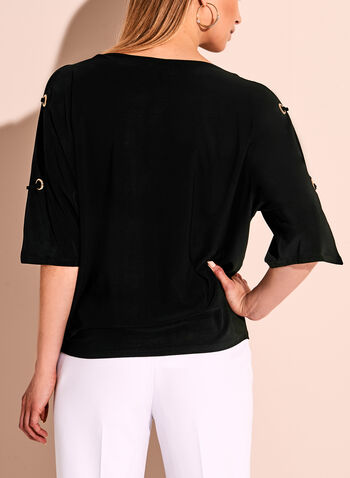Cold Shoulder Grommet Knit Top, Black, hi-res