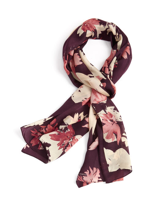 Floral Print Silk Oblong Scarf , Red, hi-res