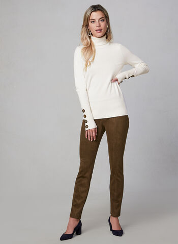 Faux Suede Leggings, Brown, hi-res,  fall winter 2019, faux suede, slim leg, leggings, pull-on