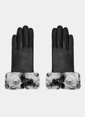 Fur Trimmed Leather Gloves, Black, hi-res