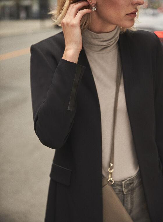 Faux Leather Detail Redingote, Black