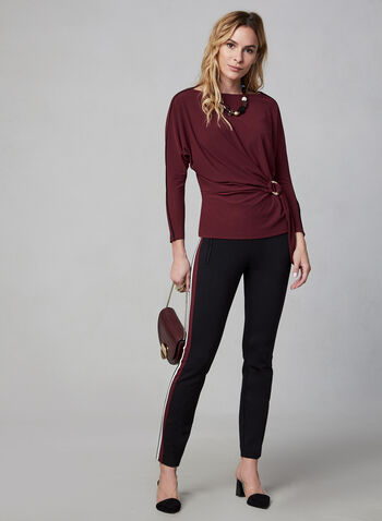 Contrast Piping Crepe Top, Red,  Canada, top, crepe, long sleeves, dolman sleeves, piping, fall 2019, winter 2019