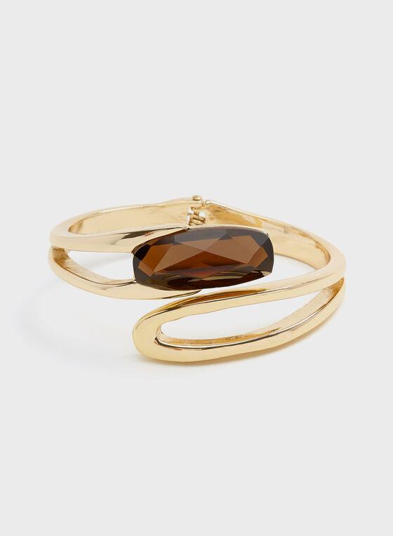 Robert Lee Morris - Bracelet rigide bicolore à pierre facettée, Brun, hi-res