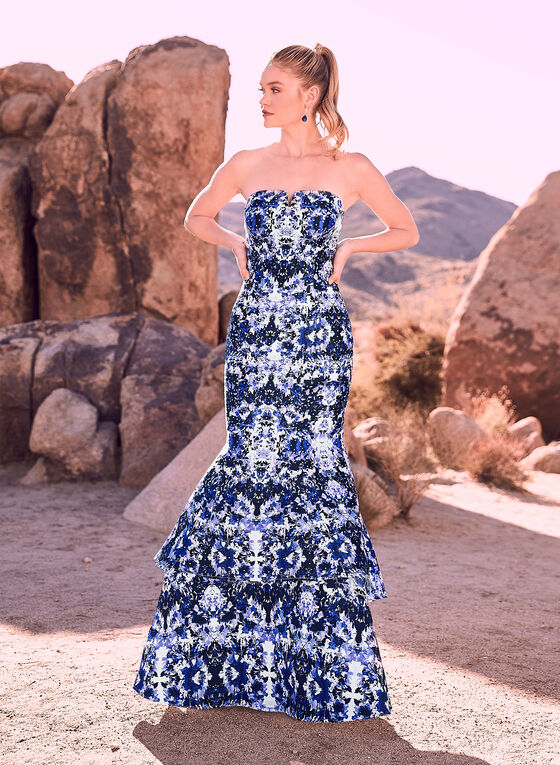 BA Nites - Printed Tiered Gown, Blue, hi-res