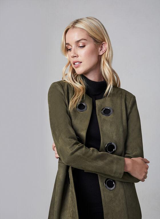 Veste longue en faux daim et œillets, Vert, hi-res