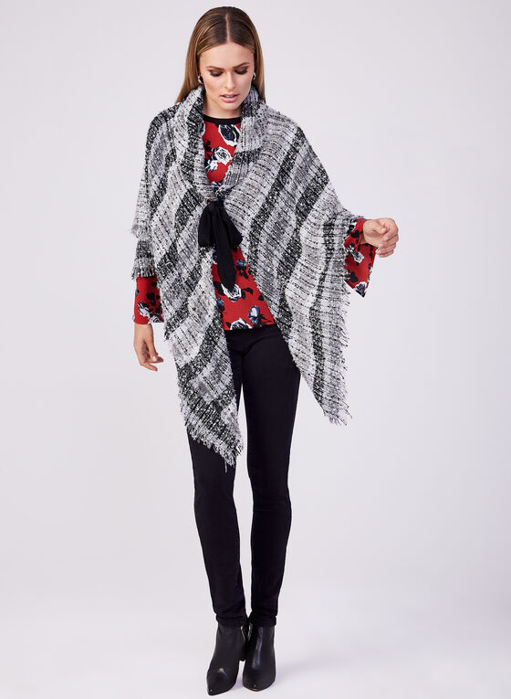 Fringed Bouclé Poncho, Black, hi-res