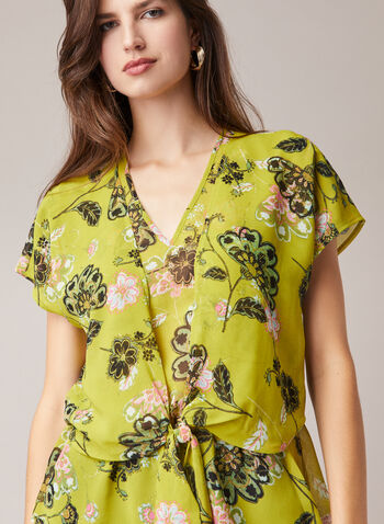 Floral Print Tie Detail Blouse, Green,  blouse, floral, tie, chiffon, layered, v-neck, short sleeves, spring summer 2020