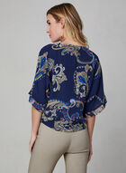 Blouse motif cachemire à manches kimono, Bleu, hi-res