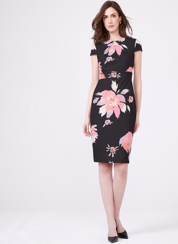 Jax – Floral Print Sheath Day Dress, Black, hi-res