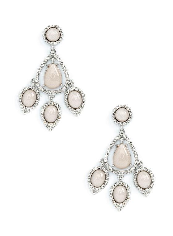 Open Teardrop Crystal & Stone Earrings, Off White, hi-res