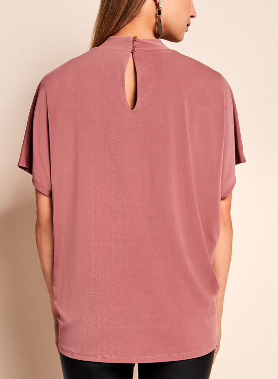 Crepe Knit Choker Top, Pink, hi-res