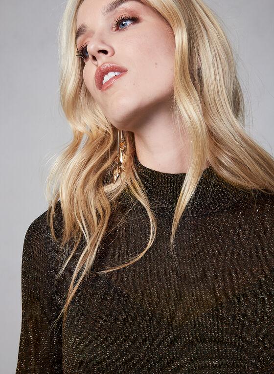 Metallic Knit Short Sleeve Sweater, Black, hi-res