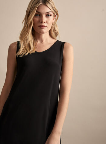 Compli K - Asymmetric Jersey Dress, Black,  spring summer 2020, sleeveless, V-neck, jersey fabric, mesh hem