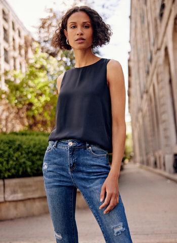 Sleeveless Tank Top, Black,  fall winter 2021, tops, no sleeves, round neck,