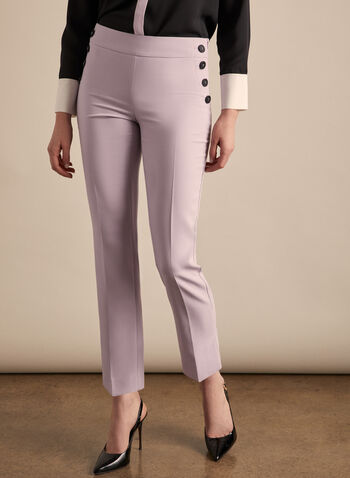 Amber Button Detail Pants, Purple,  pants, amber, slim leg, ankle, buttons, pockets, pleats, stretchy, spring summer 2020