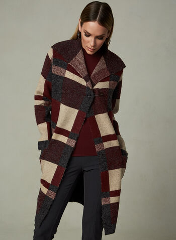 Alison Sheri - Colour Block Cardigan, Red, hi-res