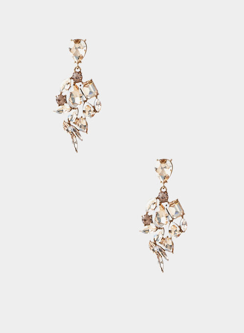 Stone Cluster Drop Earrings, Gold