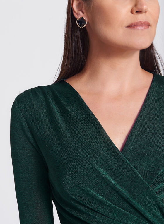 Faux Wrap V-Neck Top, Green, hi-res