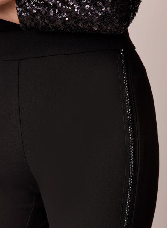 Pantalon à jambe large avec bordures en pierres du Rhin, Noir