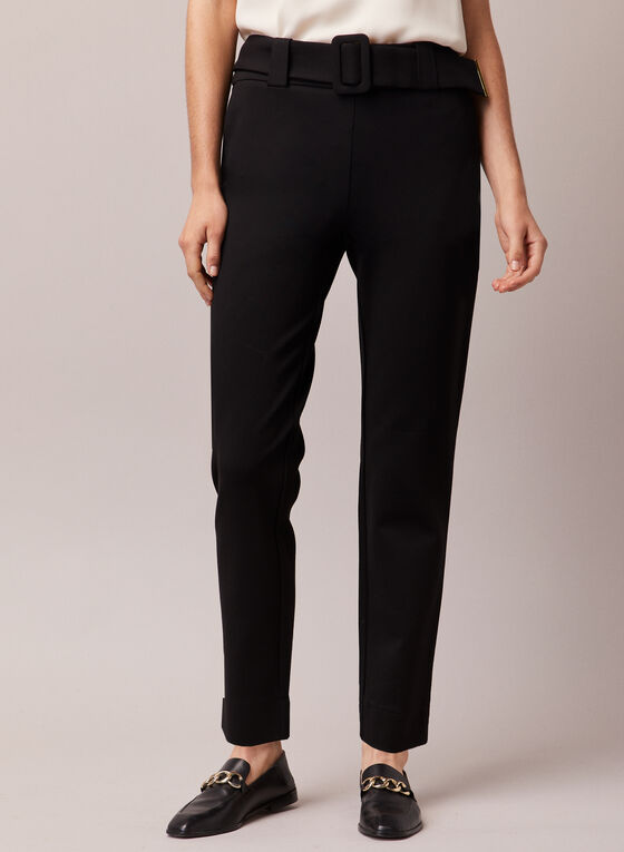 Belted Straight Leg Pants, Black