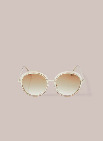 Lunettes de soleil rondes avec contour plastique, Or,  lunettes de soleil, métal, plastique, rond, printemps été 2020