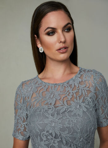 One by Eight - Glitter Lace Dress, Silver, hi-res
