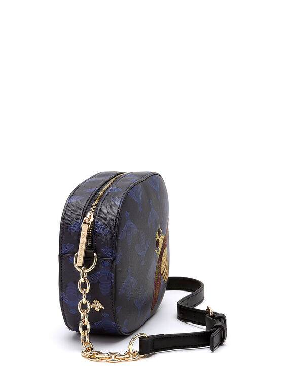 Christian Siriano - Bee Embroidered Shoulder Bag, Blue, hi-res