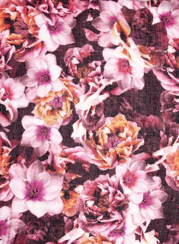 Foulard oblong à fleurs et pompons, Rouge, hi-res