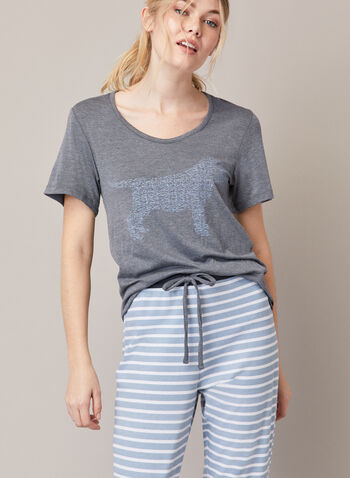 Two-Piece Pyjama Set, Blue,  fall winter 2020, pyjama, set, two-piece, floral, t-shirt, pants, contrast. rounded, v-neck