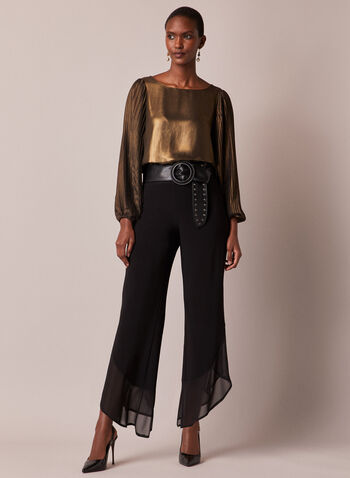 Asymmetrical Wide Leg Chiffon Pants, Black,  fall winter 2020, chiffon, trim, pull on, pull-on, pants, tulip, frill, layer, layered, lined, holiday, made in canada, wide leg, asymmetrical
