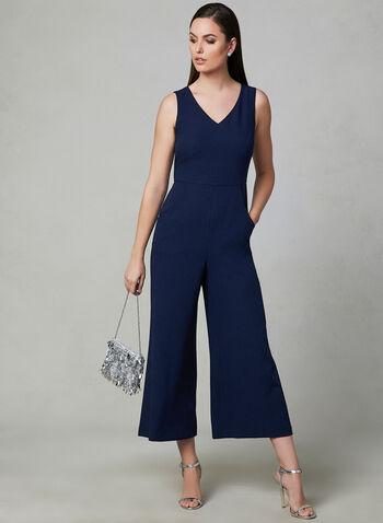 Karl Lagerfeld Paris - Combinaison en crêpe, Bleu, hi-res
